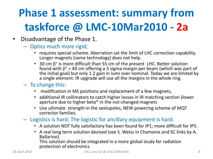 Phase 1 assessment: summary from