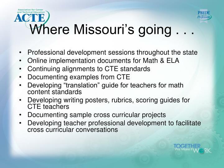 Where Missouri's going . . .