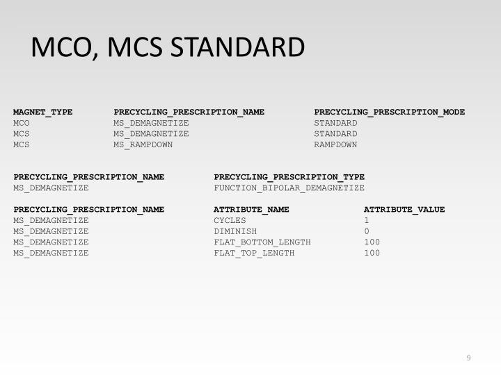 MCO, MCS STANDARD