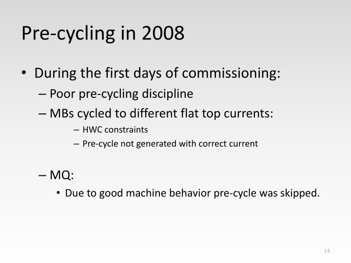 Pre-cycling in 2008