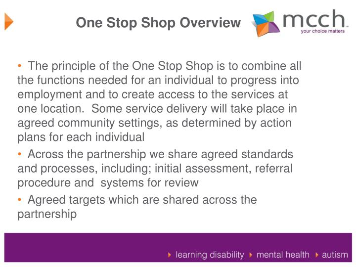 One Stop Shop Overview