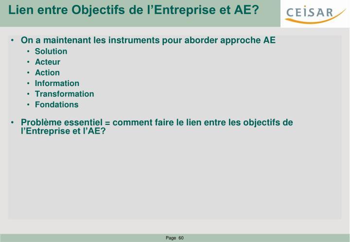 Lien entre Objectifs de l'Entreprise et AE?