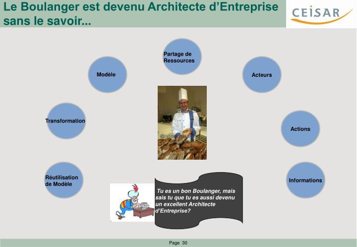 Le Boulanger est devenu Architecte d'Entreprise sans le savoir...