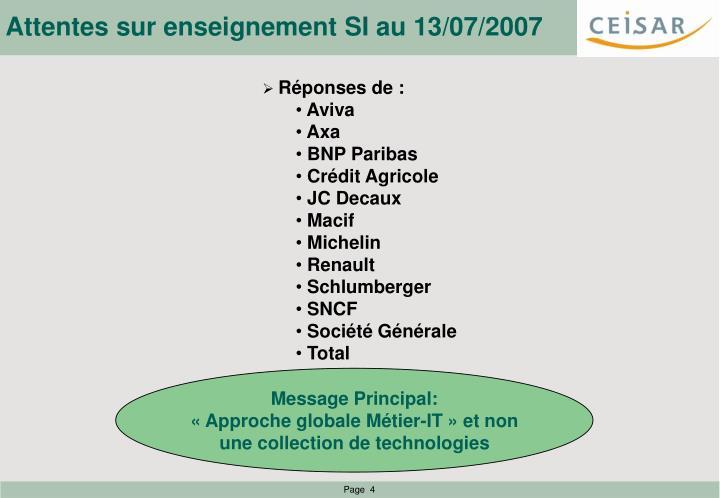 Attentes sur enseignement SI au 13/07/2007