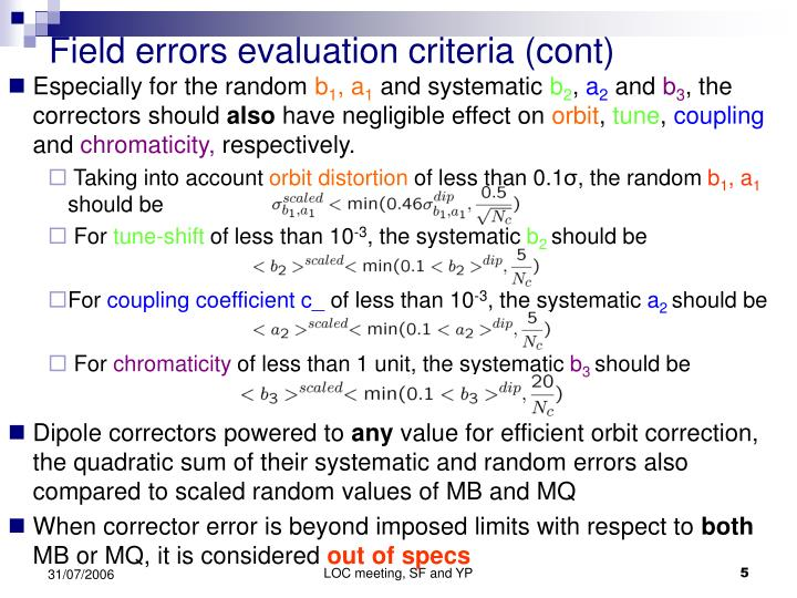 Field errors evaluation criteria (cont)