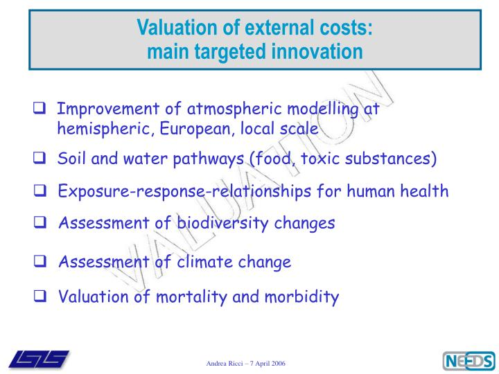 Valuation of external costs: