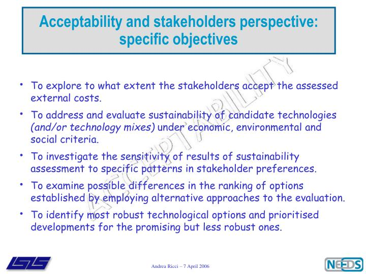 Acceptability and stakeholders perspective: specific objectives