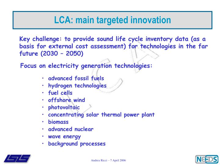 LCA: main targeted innovation