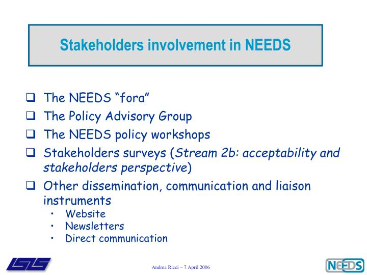 Stakeholders involvement in NEEDS