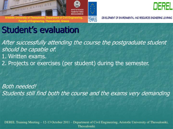 Student's evaluation
