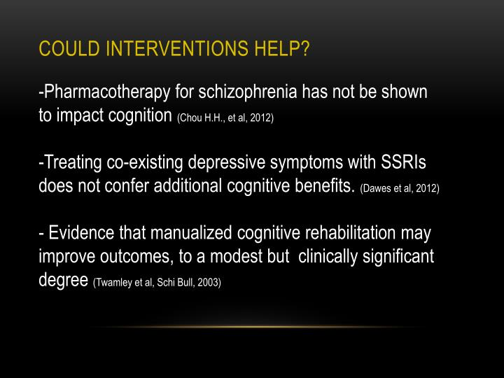 COULD interventions help?