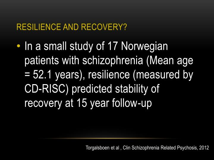 Resilience and recovery?
