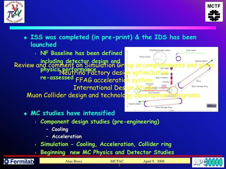 ISS was completed (in pre-print) & the IDS has been launched