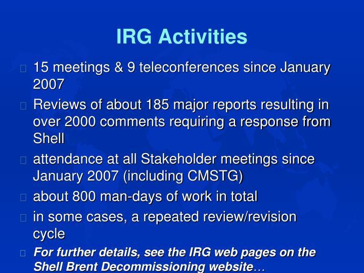 IRG Activities