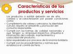 caracter sticas de los productos y servicios
