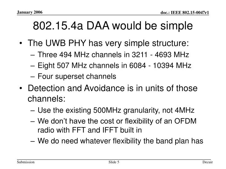 802.15.4a DAA would be simple