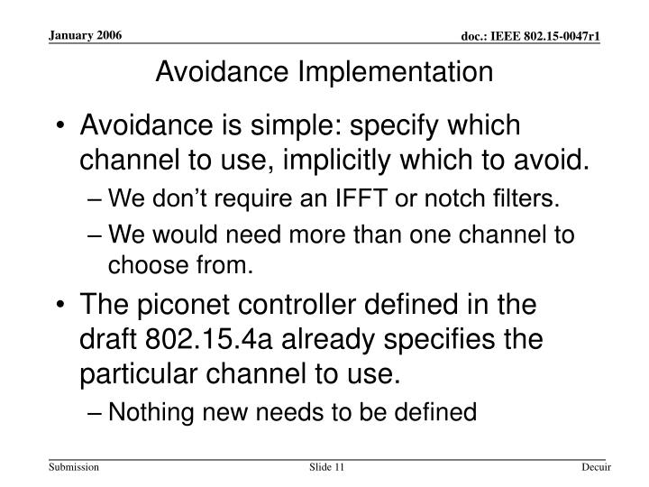 Avoidance Implementation