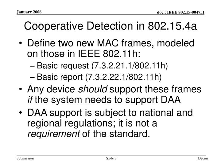 Cooperative Detection in 802.15.4a