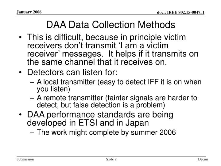 DAA Data Collection Methods