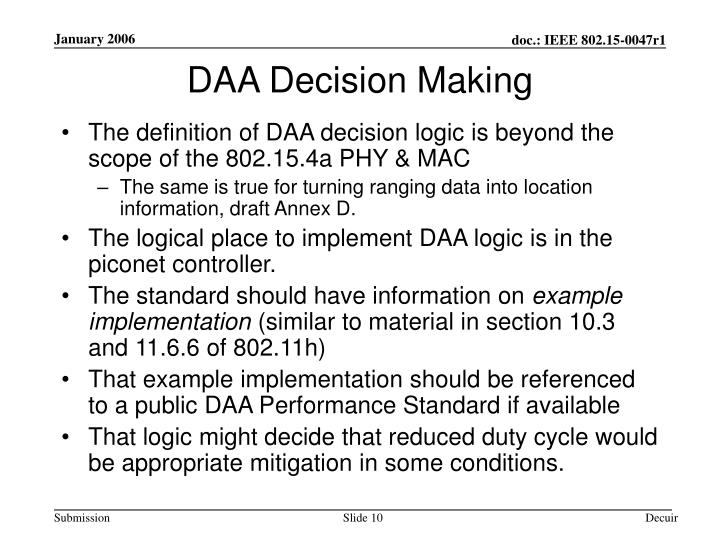DAA Decision Making