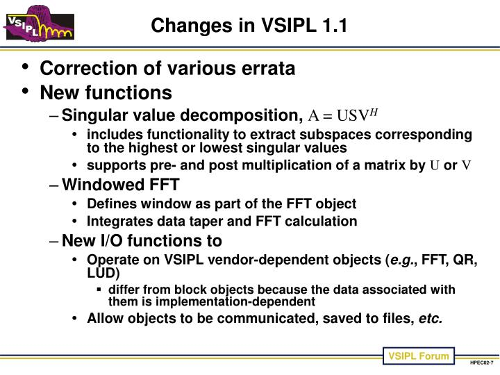 Changes in VSIPL 1.1