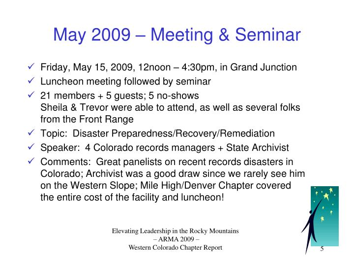May 2009 – Meeting & Seminar