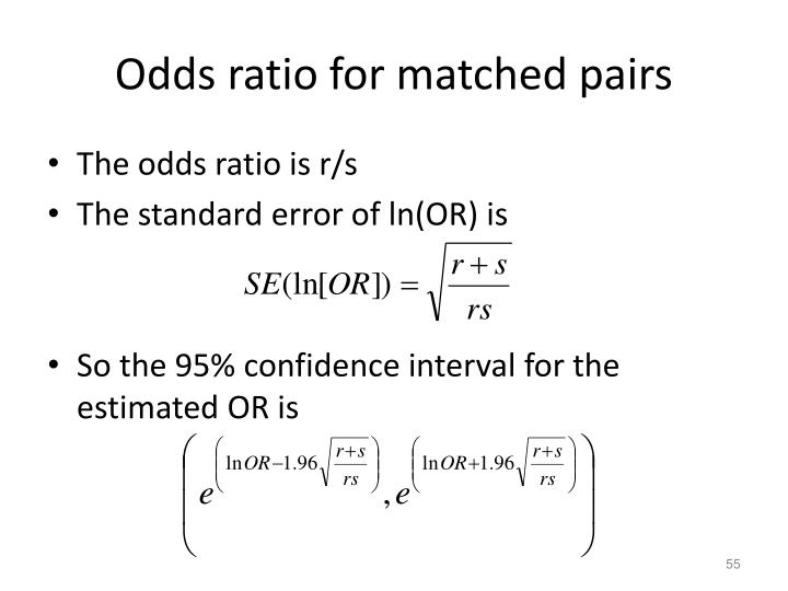 Odds ratio for matched pairs