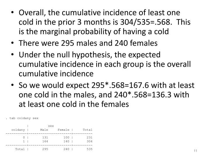 Overall, the cumulative incidence of least one cold in the prior 3 months is 304/535=.568.  This is the marginal probability of having a cold