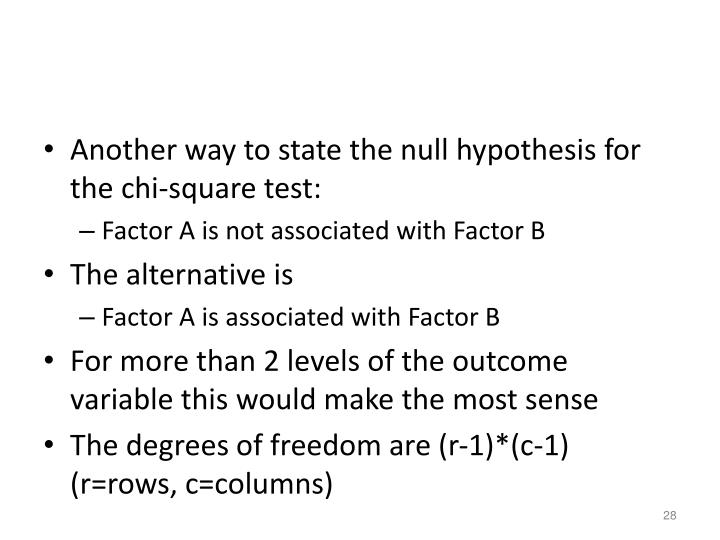 Another way to state the null hypothesis for the chi-square test: