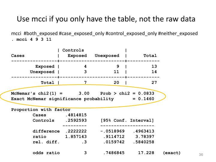 Use mcci if you only have the table, not the raw data