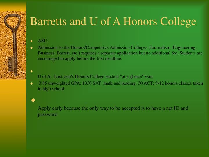 Barretts and U of A Honors College