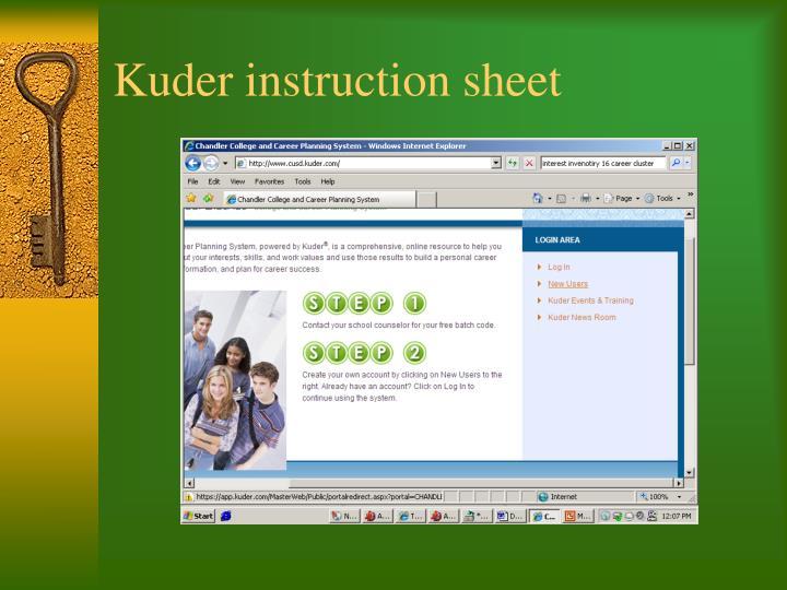 Kuder instruction sheet