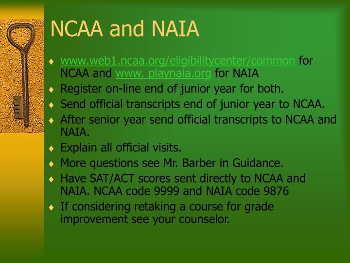 NCAA and NAIA