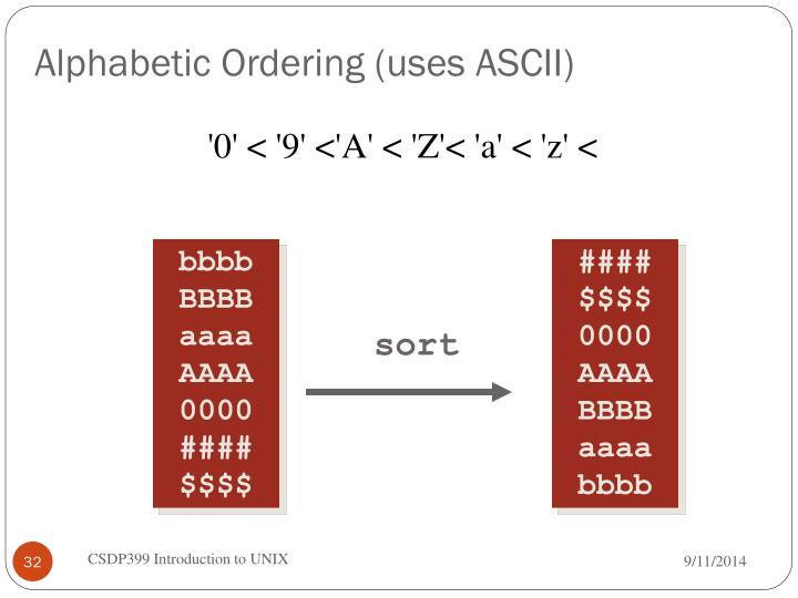 Alphabetic Ordering (uses ASCII)