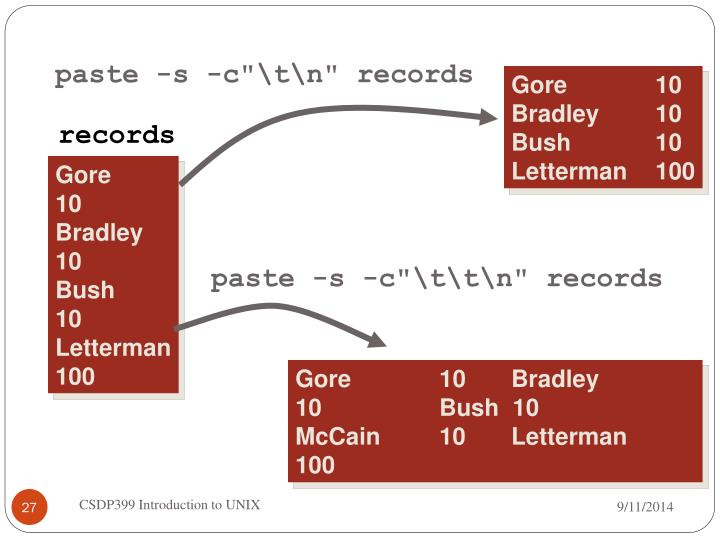 "paste -s -c""\t\n"" records"