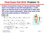 final exam fall 2010 problem 13