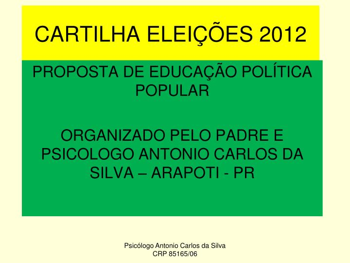 Cartilha elei es 2012