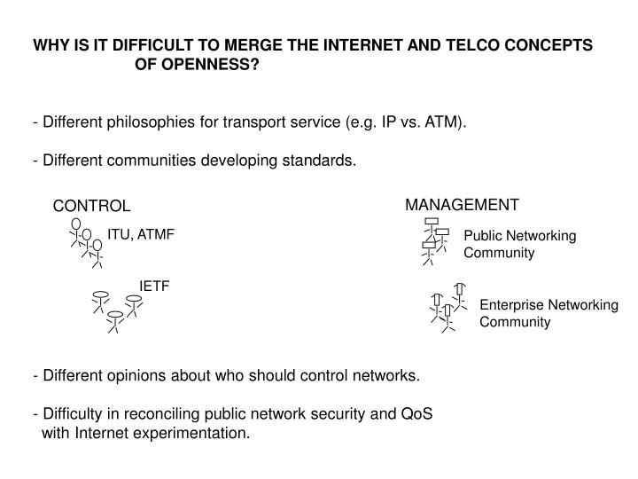 WHY IS IT DIFFICULT TO MERGE THE INTERNET AND TELCO CONCEPTS