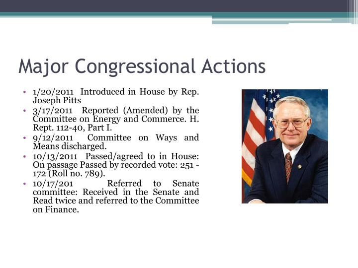 Major Congressional Actions
