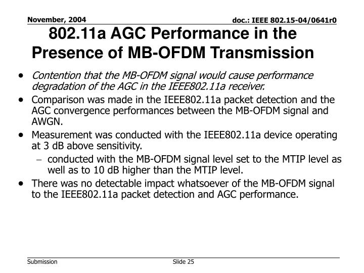 802.11a AGC Performance in the Presence of MB-OFDM Transmission