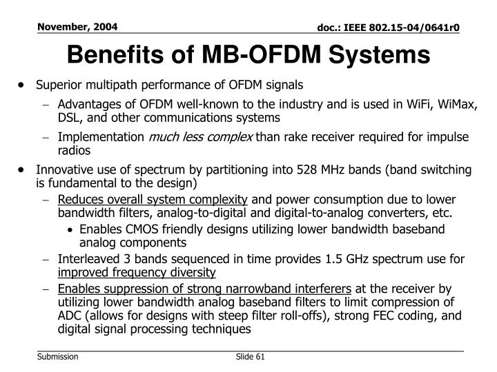 Benefits of MB-OFDM Systems