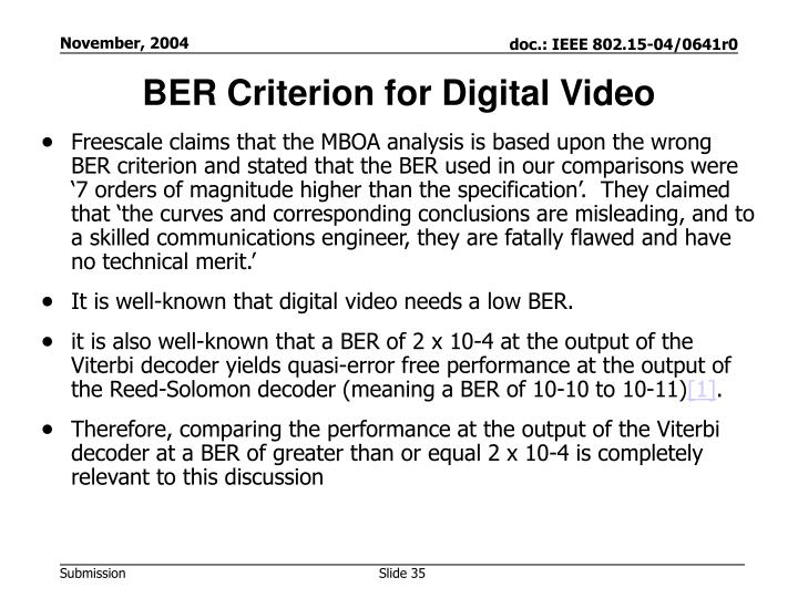 BER Criterion for Digital Video