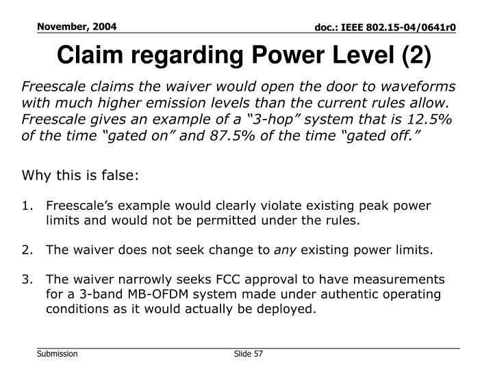 Claim regarding Power Level (2)