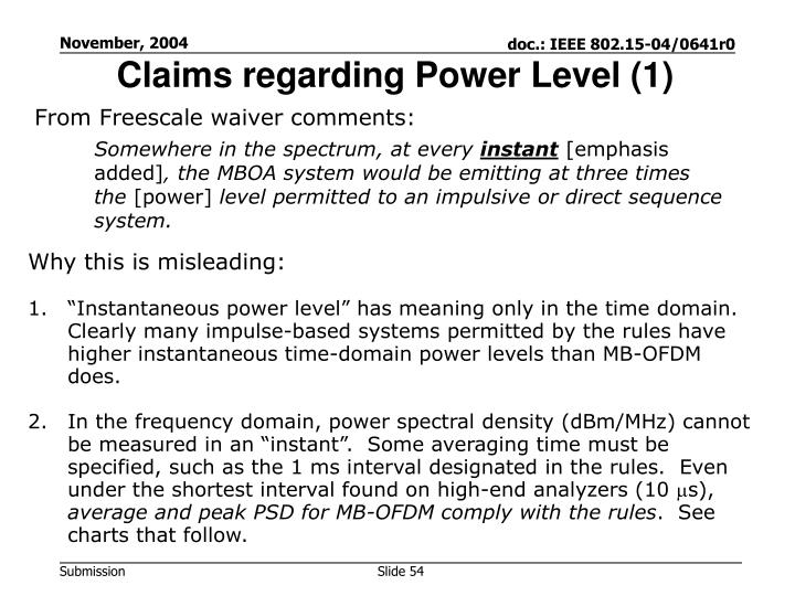 Claims regarding Power Level (1)