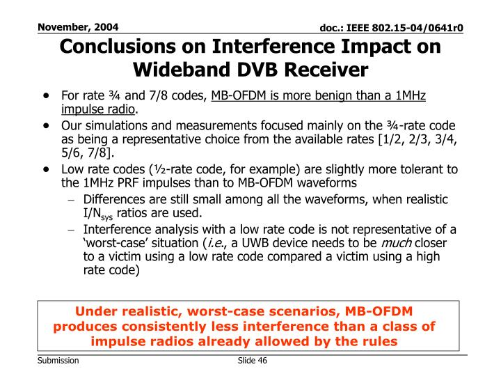 Conclusions on Interference Impact on Wideband DVB Receiver