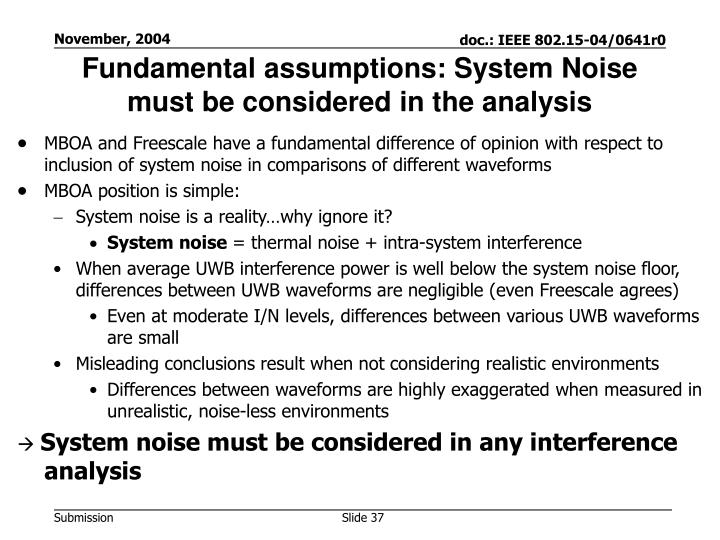 Fundamental assumptions: System Noise must be considered in the analysis