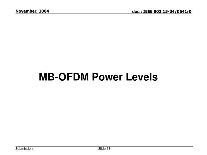 MB-OFDM Power Levels