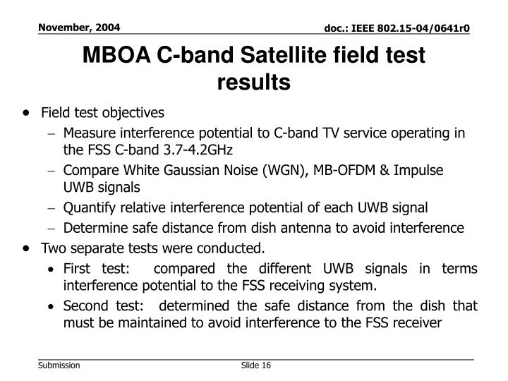 MBOA C-band Satellite field test results