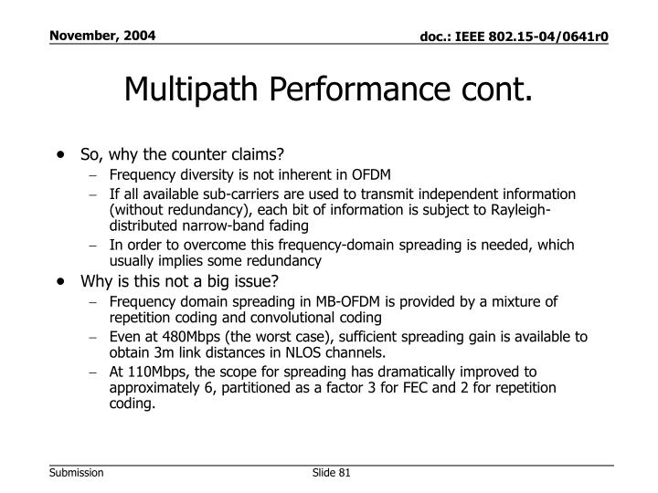 Multipath Performance cont.
