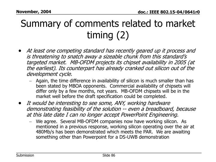 Summary of comments related to market timing (2)